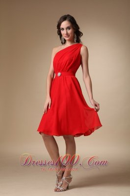 One Shoulder Knee-length Ruched Beading Prom Dress