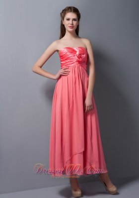 Flower Bridesmaid Dress Chiffon and Taffeta Ankle-length