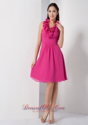 Floral Hoop Halter Bridesmaid Dress Hot Pink