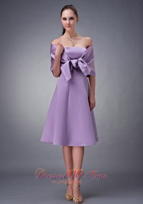 wrap Tied Bow Decorated Bridesmaid Dress Tea-length
