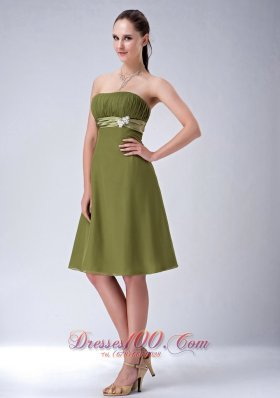 Olive Green Empire Ruched Bridesmaid Dress Knee-length
