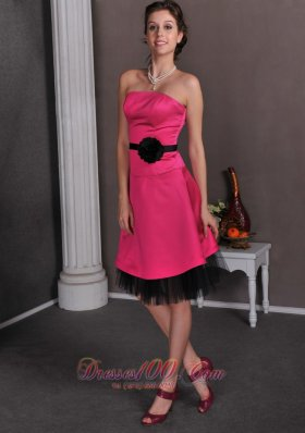 Hot Pink and Black Mother Bride Dress Knee-length