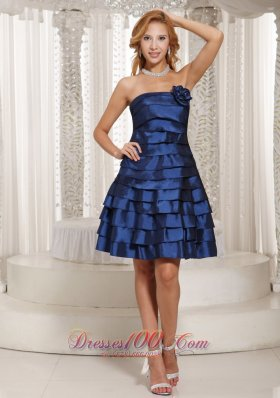 Floral Decorate Ruched Layered Bridesmaid Dress Navy