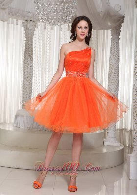Orange Prom Dress One Shoulder Beaded Drocrate