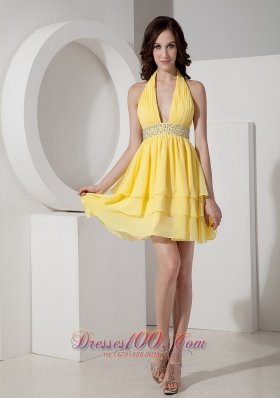 Yellow Deep Neck Empire Cocktail Graduation Dress Halter Under 100