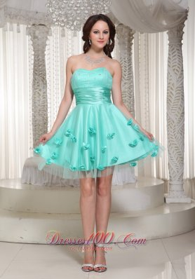Apple Green Prom Dress For Cocktail Homecoming With Flowers Decorate