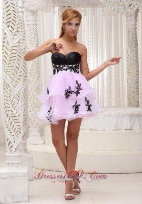 Two Tonal Prom / Cocktail Dress Appliques Mini