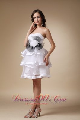 Hand Made Flower Prom Homecoming Dress Layered Ruffles