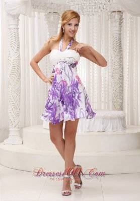 Halter Printing 2013 Prom / Homecoming Dress Mini Colorful
