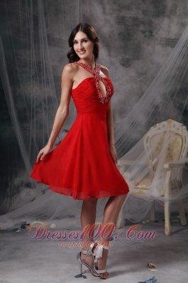 Keyhole Decorated V-neck Cocktail Dress Empire