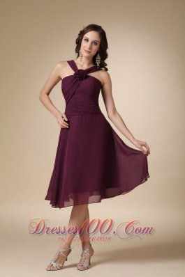 V-neck Front Straps Back Flower Bridesmaid Dress