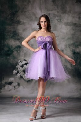A-line Mini Organza Beading Prom / Homecoming Dress