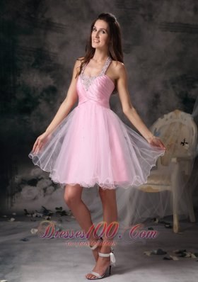 Short Prom Dress with Beading Halter Princess