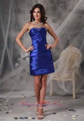Ruched Pen Style Royal Cocktail Dress Beading Mini