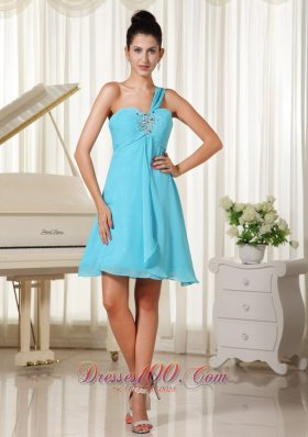 Beaded Decorate Bust One Shoulder Homecoming Dress