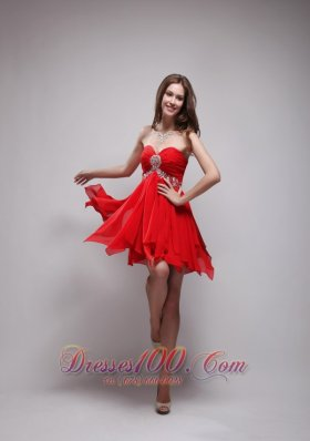 Mini Chiffon Beading Prom / Homecoming Dress Empire