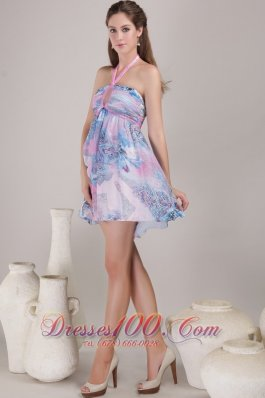 Empire Halter Mini Floral Print Prom / Cocktail Dress