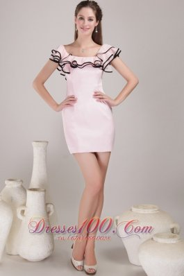 Flounced Cap Sleeves Pen Style Mini Prom / Homecoming Dress
