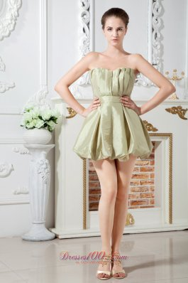 Olive Green Cocktail Dress Mini With Pleating