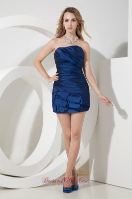 Mini-length Blue Sheath Cocktail Dres Ruched