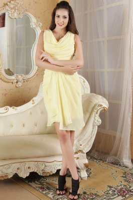 V-neck Drapped Mini Light Yellow Homecoming Dress