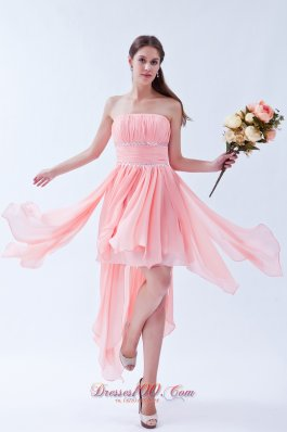 handkerchief Ruffles Watermelon Prom Homecoming Dress Beaded