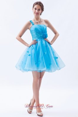Baby Blue Appliques Mini-length Prom Cocktail Dress