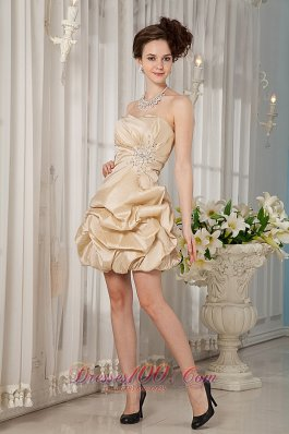 Champagne Mini-length Cocktail Dress with Pick-ups
