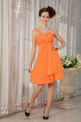 Knee-length Orange One Shoulder Bridesmaid Dress