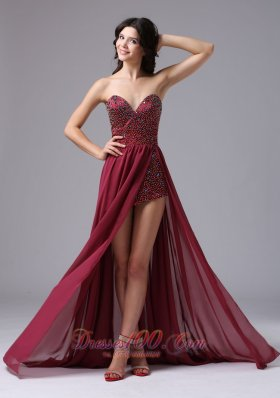 Red Sweetheart Beaded Prom Homecoming Dress High Slit