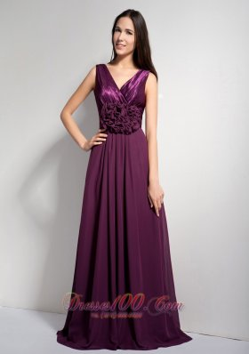 Dark Purple V-neck Brush Mother of Bride Dresses