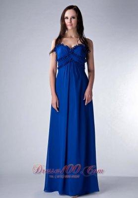 Ruched Straps Royal Blue Prom Bridesmaid Dress Chiffon