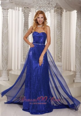 Paillette Sweetheart Royal Blue Prom Evening Dress