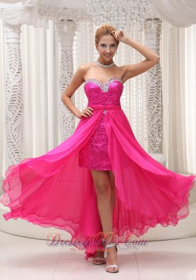 Hot Pink Sequin Beaded Prom Evening Dresses Sweetheart