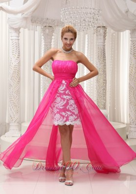 Lace High Low Ruched Hot Pink Prom Homecoming Dress