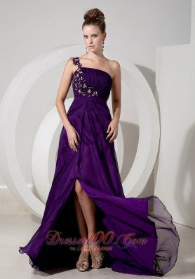 One Shoulder Appliques Eggplant Purple Evening Dress