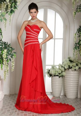Red Sweetheart Prom Celebrity Dress With Brush Train