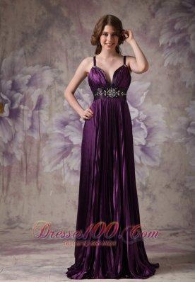 Spaghetti Straps Pleats Purple Pageant Evening Dresses