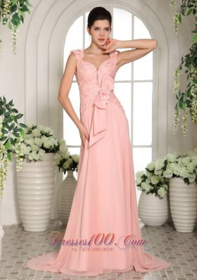 Hand Made Flowers Straps Baby Pink Prom Evening Gowns