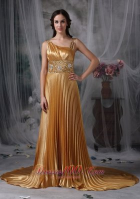 Gold Pleats Celebrity Evening Dress Beading Straps