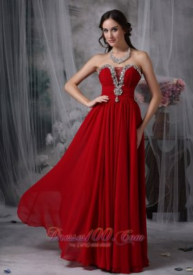 Wine Red Chiffon Beading Strapless Prom Evening Gowns - US$163.69