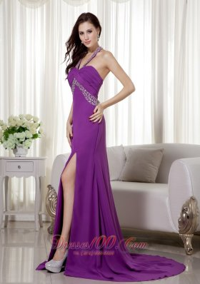Purple Halter Beaded Ruch Prom Celebrity Dress Chiffon