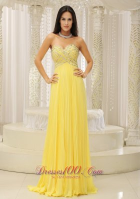 Yellow Sweetheart Beaded Pleats Prom Homecoming Dress