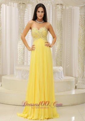 Yellow Sweetheart Beaded Pleats Prom Homecoming Dress