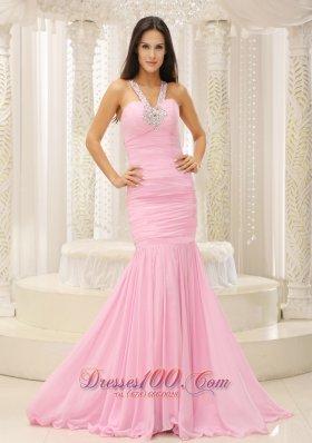 Mermaid V Neck Beaded Pink Celebrity Pageant Evening Dresses