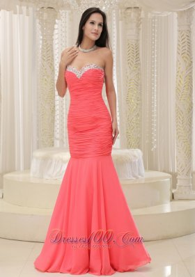 Coral Red Mermaid Prom Homecoming Dress Beaded