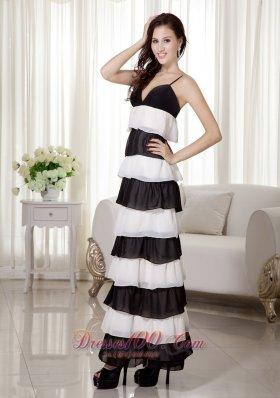 White and Black Spaghetti Straps Prom Evening Dress