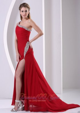 Beaded One Shoulder Wine Red High Slit Prom Evening Dress