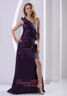 Dark Purple One Shoulder Ruched Party Celebrity Dress