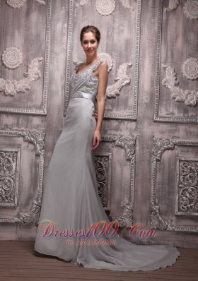 Gray V Neck Chiffon Beading Prom Formal Evening Dress